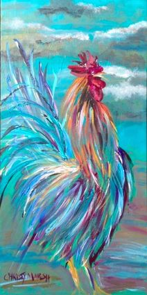 """""""Rooster Crowing at the Break of Dawn"""" Christy Marsh 15x30"""" Acrylic on Canvas (Sold) www.christymarsh.net"""