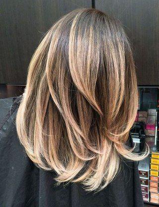 Балаяж на тёмно русые волосы средней длины
