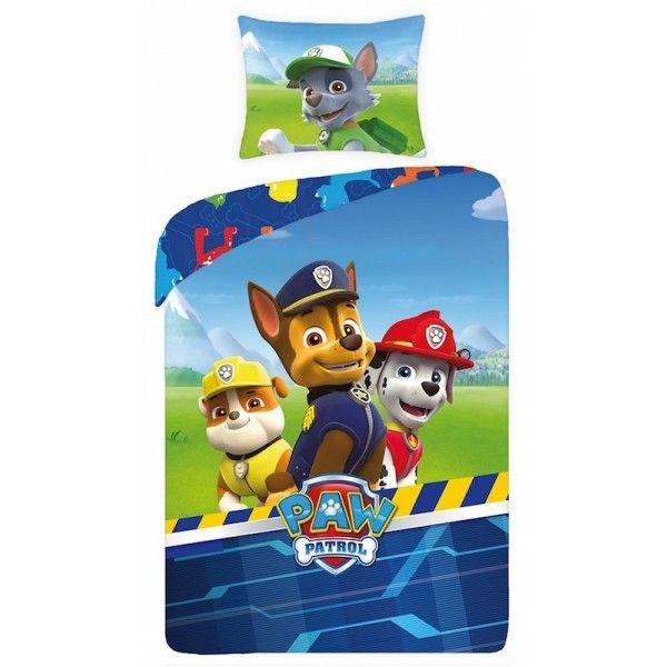 Paw patrol sengetøj med hundene Chase, Rubble, Marshall og Rocky Nick JR