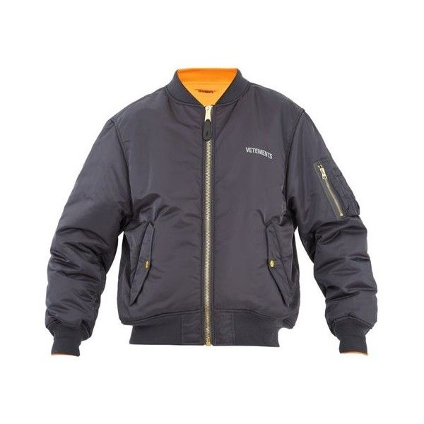 Vetements Reversible bomber jacket (€1.745) ❤ liked on Polyvore featuring men's fashion, men's clothing, men's outerwear, men's jackets, mens stone island jacket, mens military style jacket, mens military jacket and mens reversible jacket