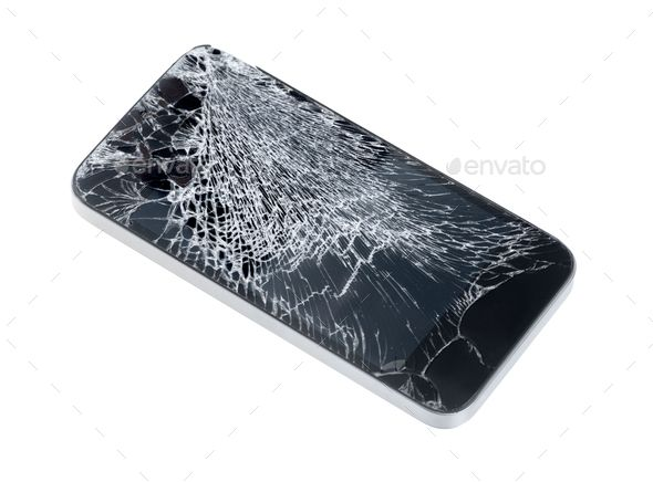 Mobile Phone With Broken Screen By Bloomicon Modern Mobile Smartphone With Broken Screen Isolated On Cracked Iphone Iphone Screen Repair Cracked Phone Screen