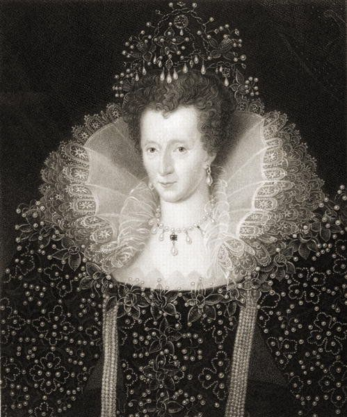 Queen Elizabeth I (1533-1603) from 'Gallery of Portraits', published in 1833 (engraving) by English School