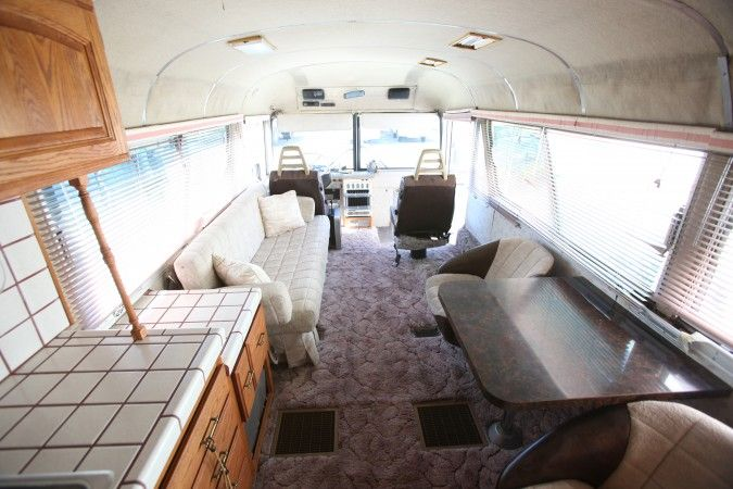 converted school bus interiors | 1967 MCI 5A Challenger Bus Conversion, interior looking forward