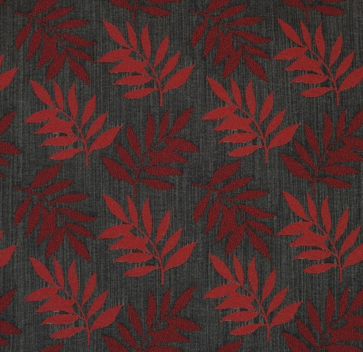 Red autumn upholstery fabric - Selena Red by Charles Parsons Interiors #red #fabric #upholstery #leaf #autumn #charlesparsonsinteriors