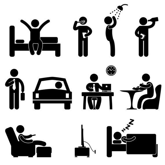 Bed Waking Up Brush Teeth Tooth Shower Bath Drinking Eating Etsy In 2021 Pictogram Daily Routine People Icon