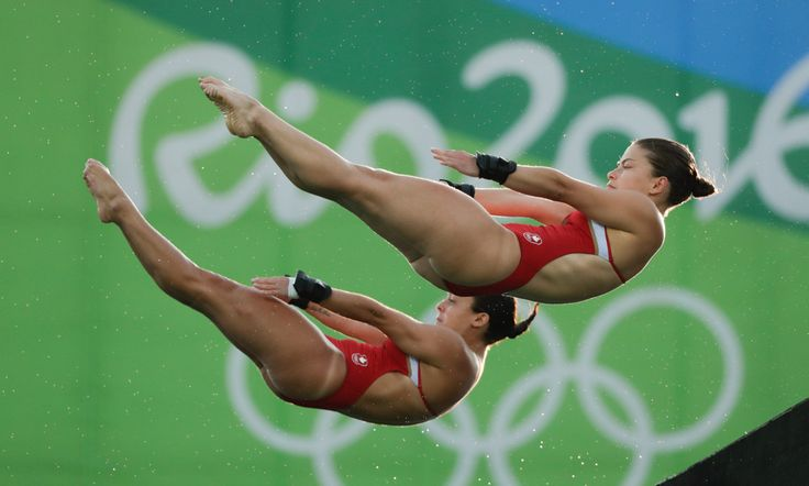 Meaghan Benfeito and Roseline Filion compete in the women's 10m synchro event at Rio 2016