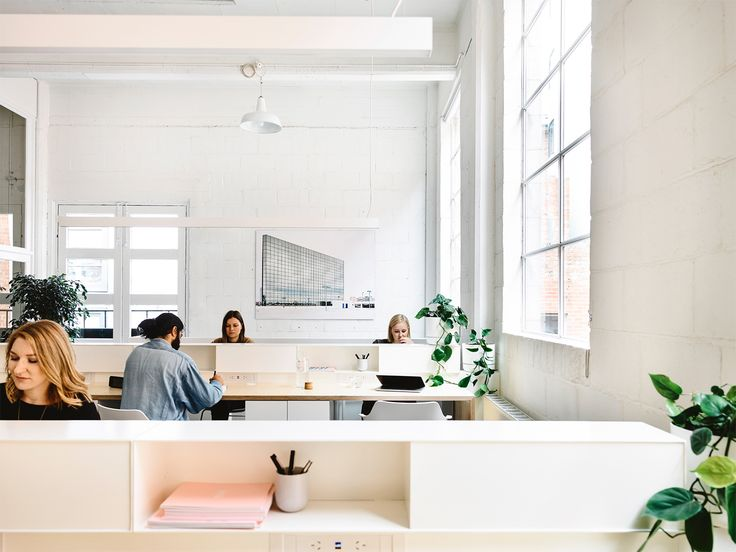 Wolveridge Architects Modern Light Filled Open Plan Office Space Warehouse Conversion in Collingwood Melbourne, Australia Featuring Industrial Exposed Brick, Minimal Desks, Raw Concrete Features and Green Indoor Plants