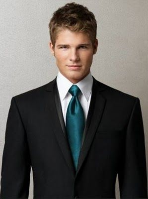 Groomsmen will provide own black suits with white ties. We will provide teal ties that will match the girls dresses.