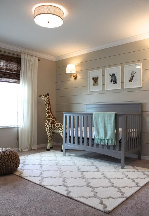 "Cozy gray and beige boy's nursery is fitted with gray carpeted floors accented with a Hacienda Park Avenue Trellis Nickel Geometric Area Rug sat beneath a gray Delta Crib positioned beneath three baby animal prints from The Animal Print Shop mounted on a shiplap wall painted in Sherwin Williams Accessible Beige illuminated by a House of Troy Greensboro 13"" Pin-up Wall Lamp."