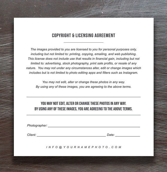 Print Release Templates - Photo Marketing - Copyright Agreement - wedding contract templates