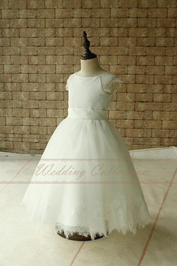 Ivory pizzo Applique Tulle fiore ragazza di Weddingcollection