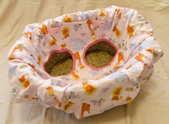 Shopping cart cover/ High Chair Cover. Jungle Animals in Pink, handmade by Mommy Can Sew, $40.00