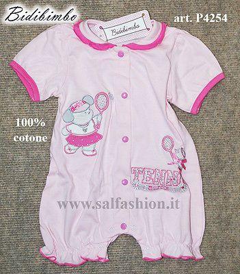Tutina pagliaccetto neonata 100% cotone BIDIBIMBO art. P4254