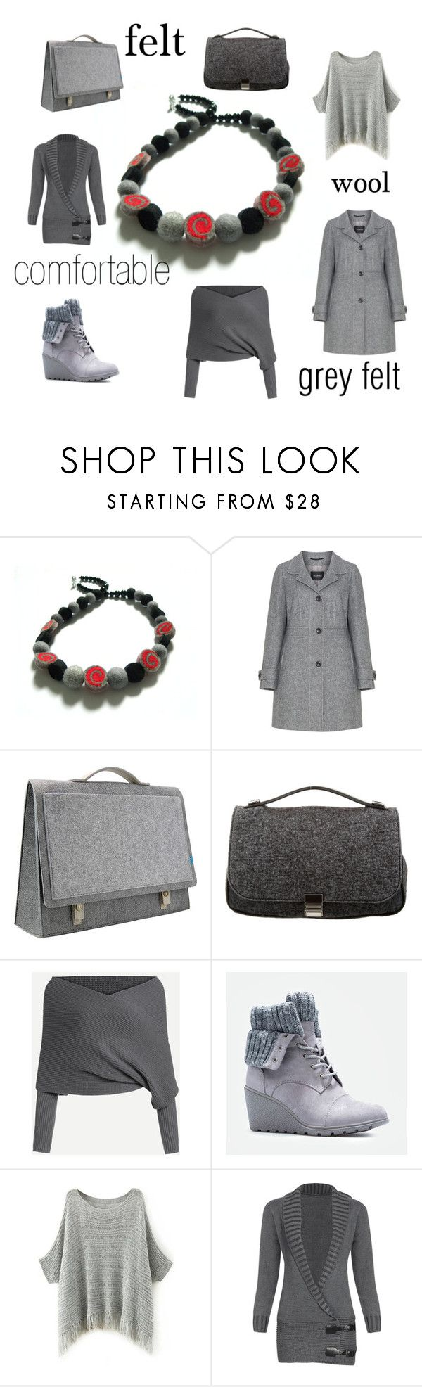 Grey felt and wool by marudafelting on Polyvore featuring moda, MANISA, JustFab, Mad Rabbit Kicking Tiger, Proenza Schouler and plus size clothing