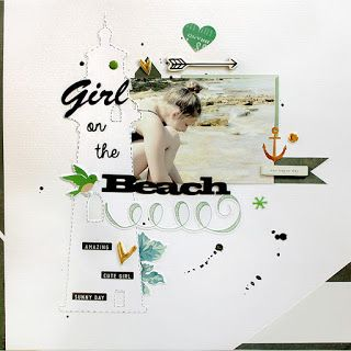 PapErHeArt: Girl on the Beach  #scrapbooking # scrapbook #papercraft #thecutshope  #cratepaper #maggiehdesign #silhouetteamerica #pinkfreshstudio