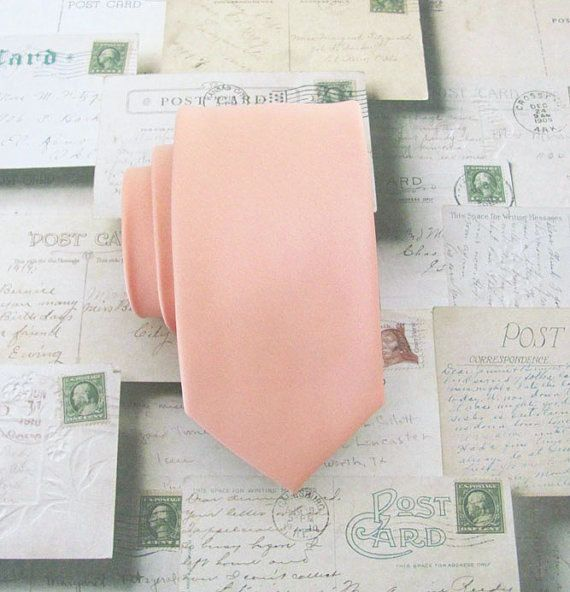 Necktie+Light+Peach+Skinny+Tie+by+TieObsessed+on+Etsy,+$19.95