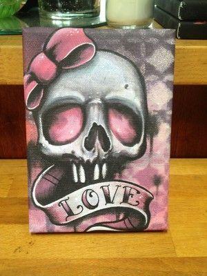girly paintings canvas   Girly Love Skull Canvas Painting Print Tattoo Art Graffiti Art Lowbrow ...