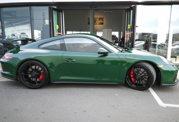 A brand new PTS Irish Green (irischgrün; non-metallic UNI; Y79) 991.2 GT3 will soon be picked up by Rennlist member Nacelle in Western Canada. This example sports the manual, wheels in satin black, steel brakes, LED headlights in black, and Adaptive 18-way seats. The interior is upholstered in full leather with deviated stitching throughout in Platinum Grey (even the steering column, an option I highly recommend for those with a penchant for leather). Great to see that British Columbia alone…