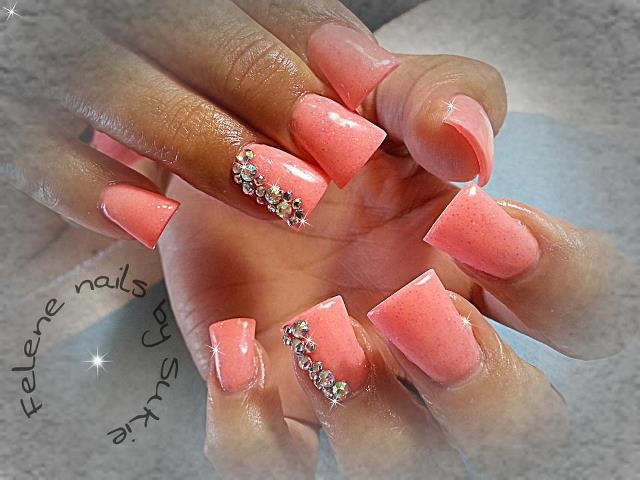 Coral & diamond Flares nails. I only like the color.
