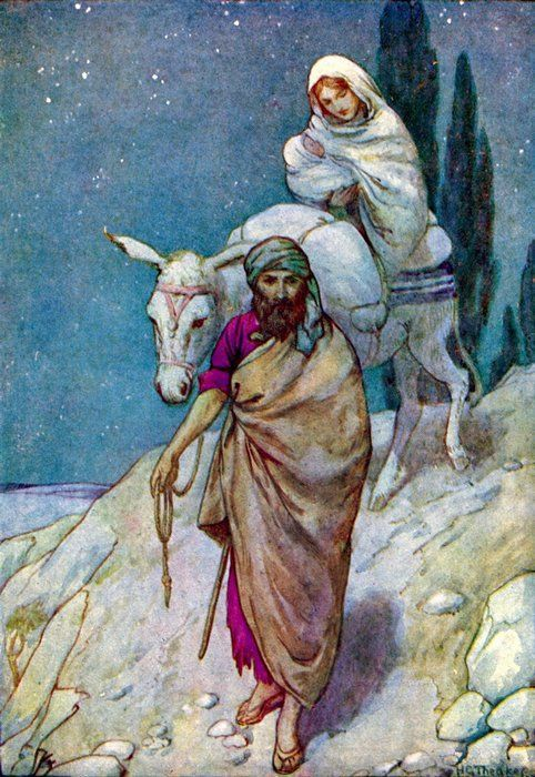Mary and Joseph fleeing to Egypt with Jesus. Pray to the Holy Family for the needs of your own family!