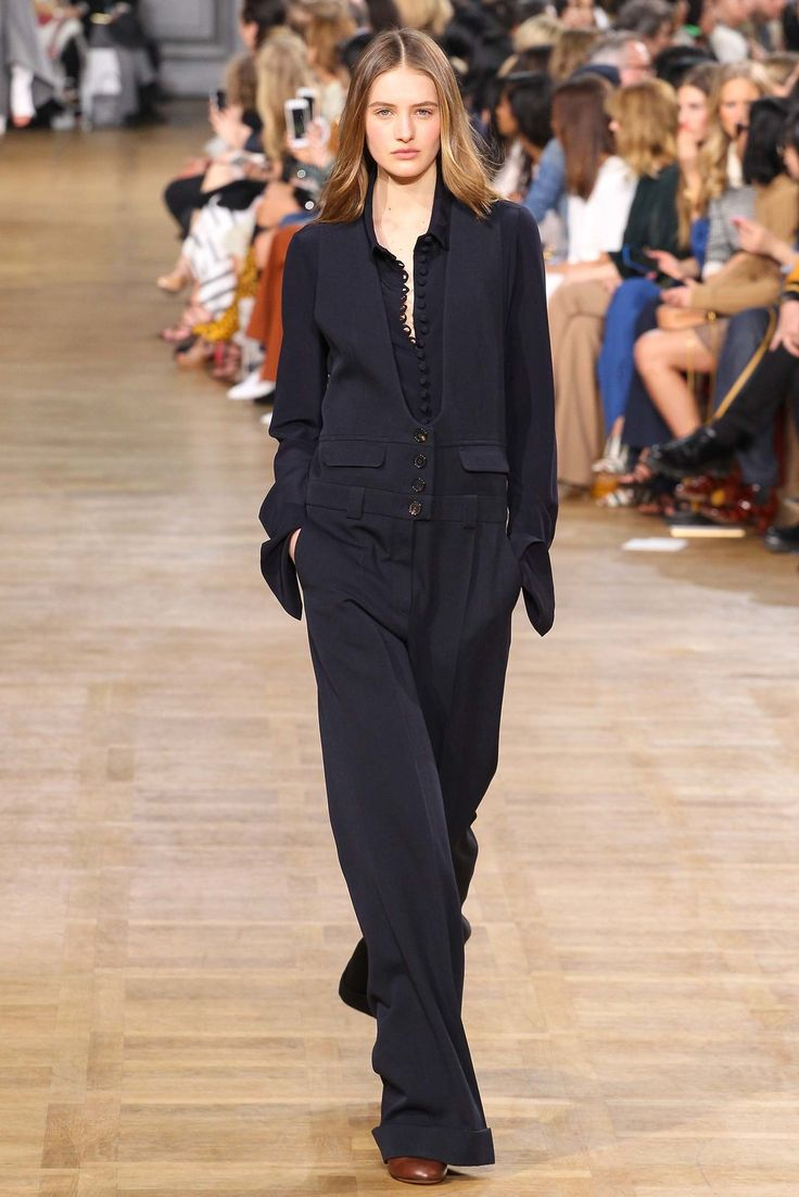 Black jumpsuit inspired by workwear by Chloé Fall 2015 Ready-to-Wear Fashion Show