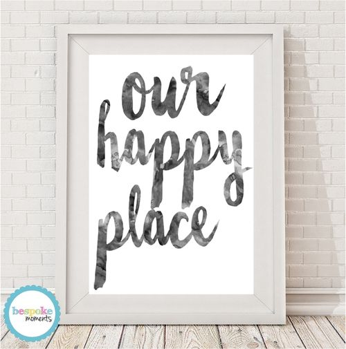 Our Happy Place Ink Wash Watercolour Print by Bespoke Moments. Worldwide Shipping Available.