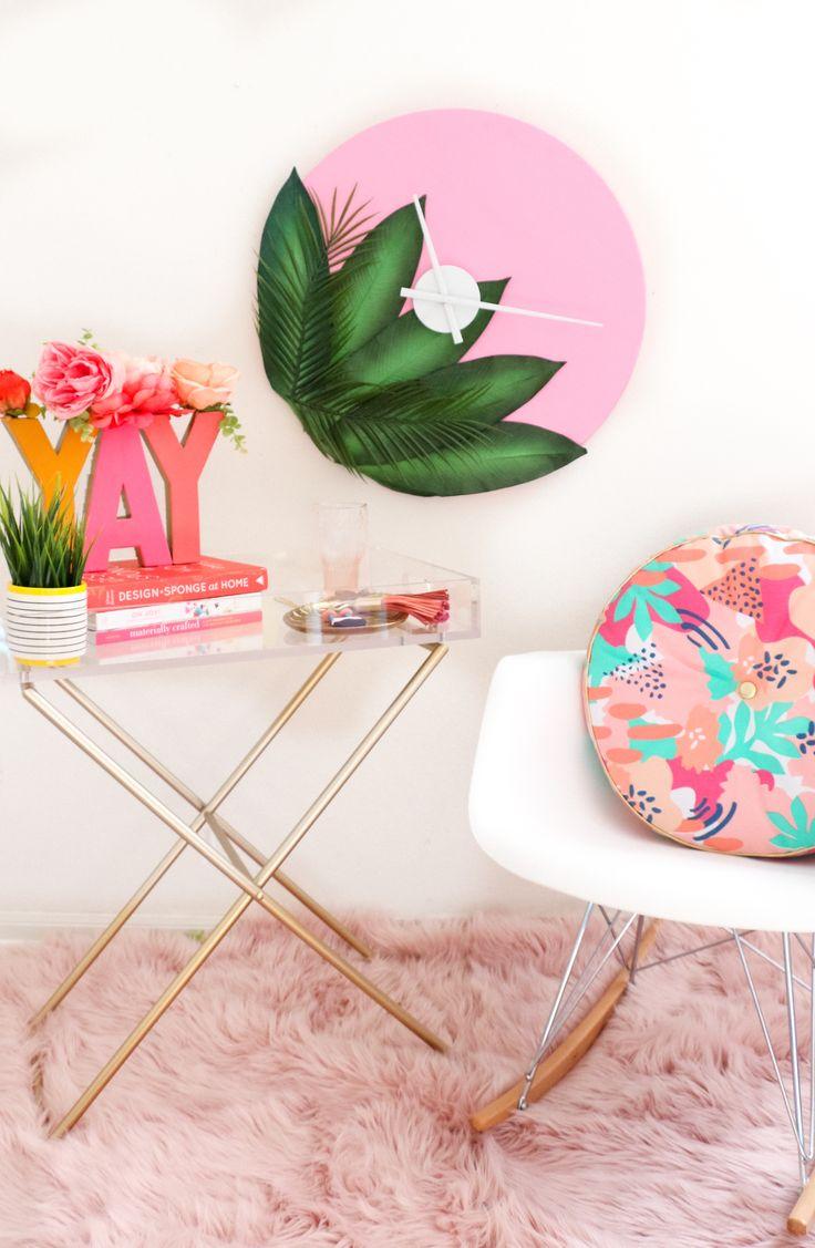 DIY Plants on Pink Clock | A Beautiful Mess | Bloglovin'