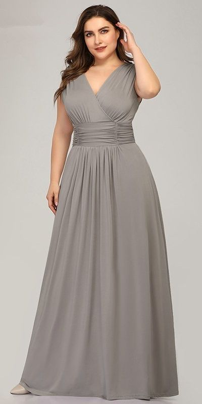 😘 Grey Chiffon Evening Dress