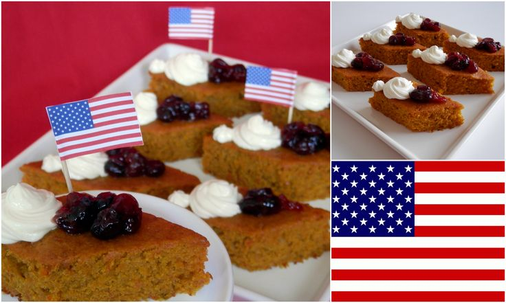 Pumpkin orange cake with drunk cranberries and cram cheese