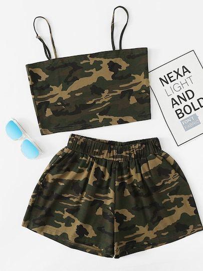 Camo Cami Top mit Shorts Anzugtyp: Shorts Farbe: Mehrfarben Material: 97% Polyester   – easy-diy