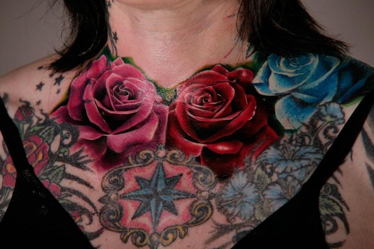 15 Best Women Front Shoulder Chest Tattoo With Roses Images On Pinterest  Tattoo Inspiration, Chest Tattoos For Women And Nice Tattoos-9638