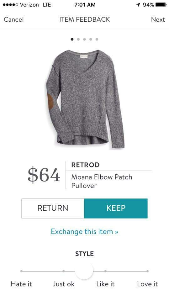V neck Sweater with elbow patches. Love the dark grey. Retrod Moana Elbow Patch Pullover