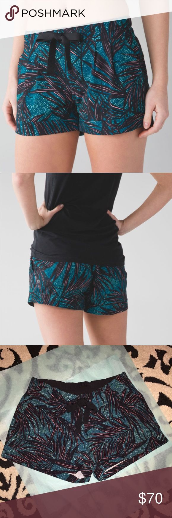 Lululemon spring break away shorts Perfect condition!! Size 8, palm lace teal. Super cute!! Rare pattern now! lululemon athletica Shorts