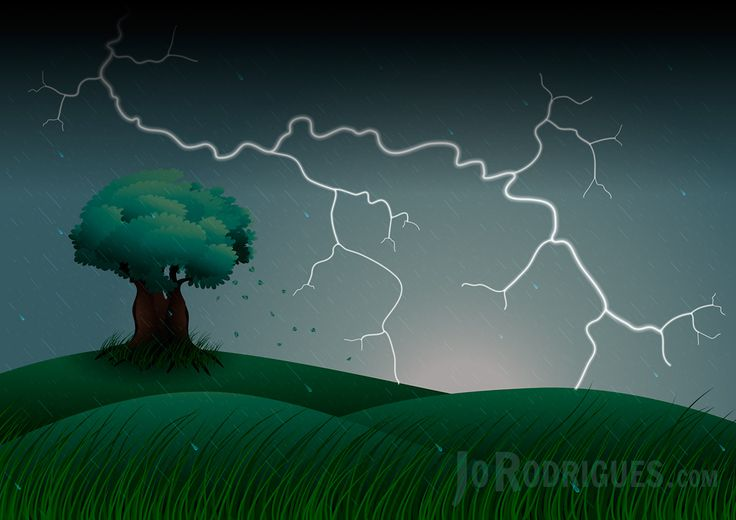 A windswept, hilly scene with leaves blowing of a Solitary Tree. Rain and lightning strike in the distance. Wind bowed grasses in the foreground.