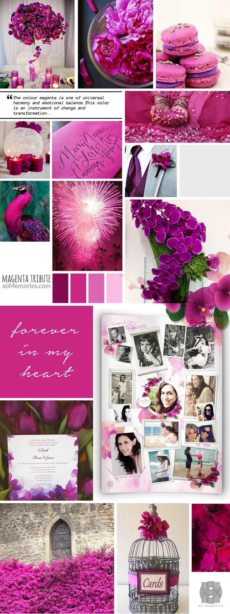 Does the colour magenta remind you of your loved one? Create a unique and memorable funeral ceremony using magenta.  See our Personalised Photo Memorial Collage Board template in this theme now at: http://xomemories.com/product/orchid/   or explore our gallery for other ideas. #magenta #tribute #xo #memories