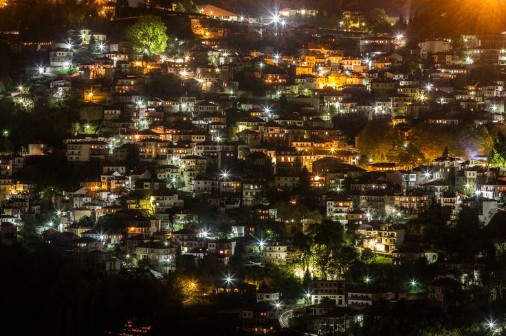 Night lights - The Greek village of Metsovo, in Epirus region, in northern Greece.