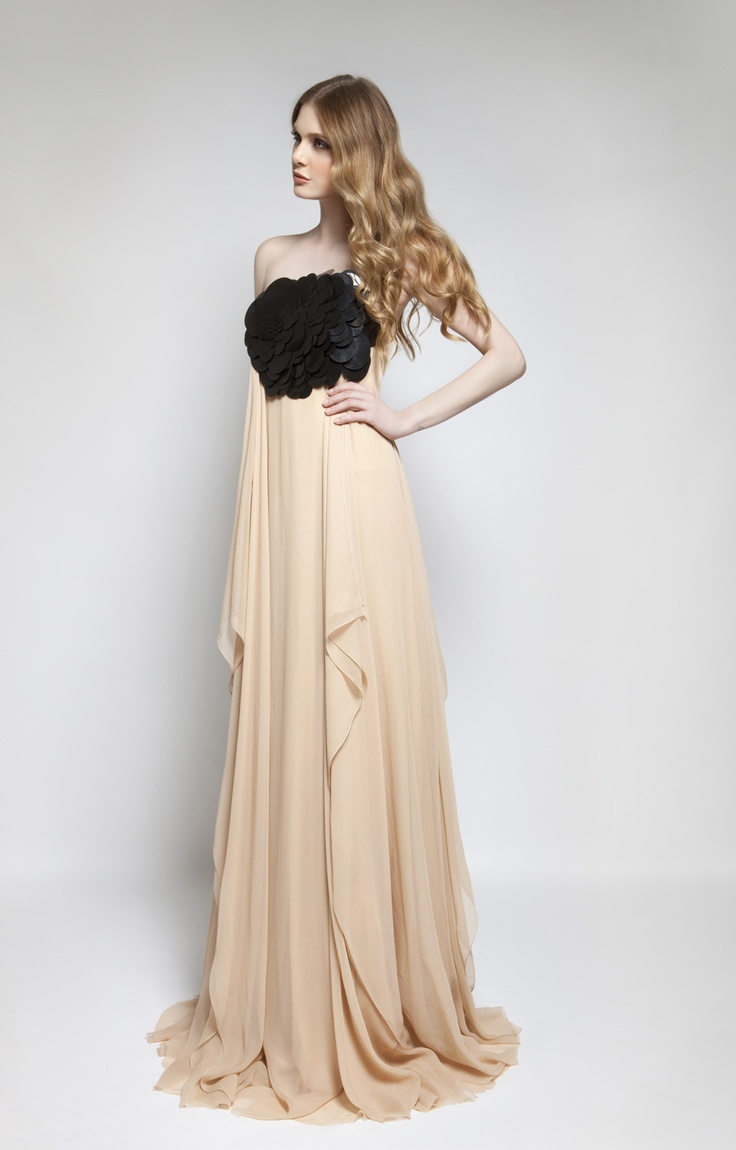 CHRISTOS COSTARELLOS AW 12-13 Silk Chiffon Maxi Dress With Oversized Sequins.