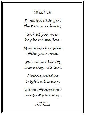 happy sweet sixteen birthday poem | 16th Birthday Wishes Gift Frame
