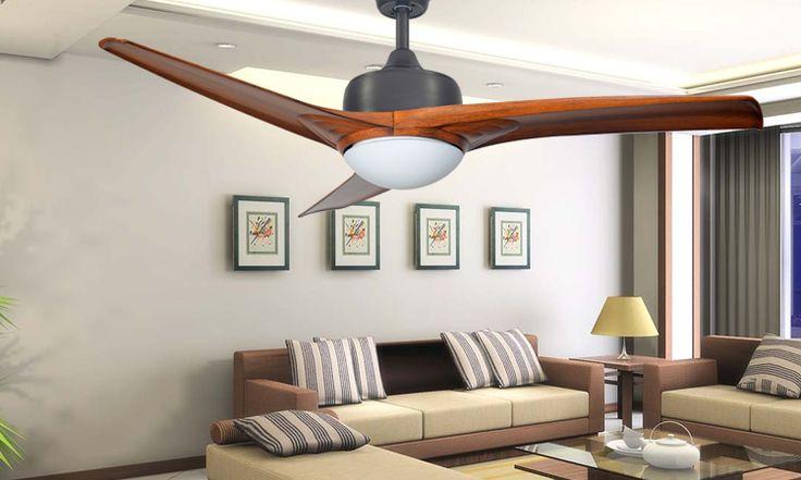 Simple stylish 52-inch retro-restaurant European bedroom led silent pendant fan lamp living room fan light pendant light