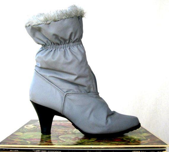 Gray Nylon Snow Boots / 80s Sno Wings / Faux Fur Winter ...