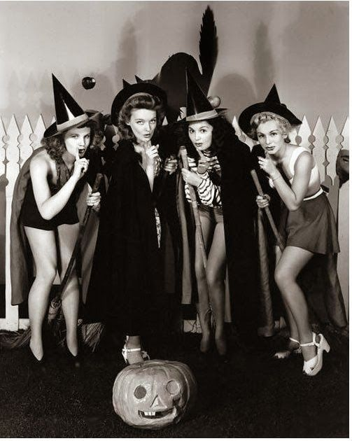 Vintage Whimsical Witch Group Photograph