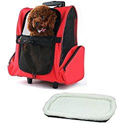 JANMO Dog Carrier Backpack Airline Approved for Medium Big and Large Dog with Wheels And Soft Mat (Red)