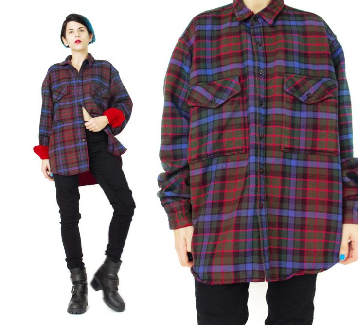 Vintage Plaid Flannel Shirt Grunge Mens Blue Red Button Down Lumberjack Camping Warm Wool Long Sleeve L XL