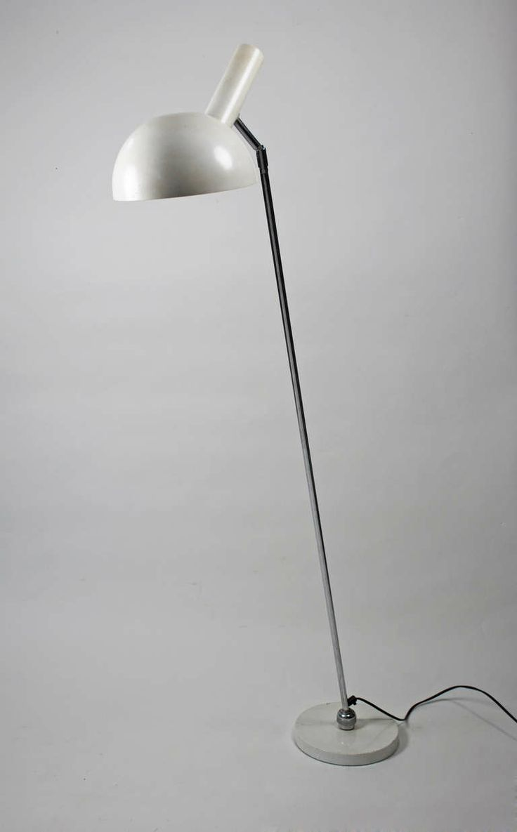 Busquet, floor lamp, Hala Zeist 1960's  1,000ud  CREATOR: H. Th. J. A. Busquet (Designer) COUNTRY: Netherlands DATE OF MANUFACTURE: circa 1960 MATERIALS: metal, chromed and lacquered white CONDITION: Fair WEAR: Wear consistent with age and use HEIGHT: 13 ft. (396 cm) DEALER LOCATION: Cologne, Germany