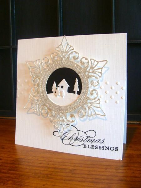 IC407 - Christmas Blessings...gekgirl101....Christmas card w/cut out house/trees.............ahhh, so lovely!