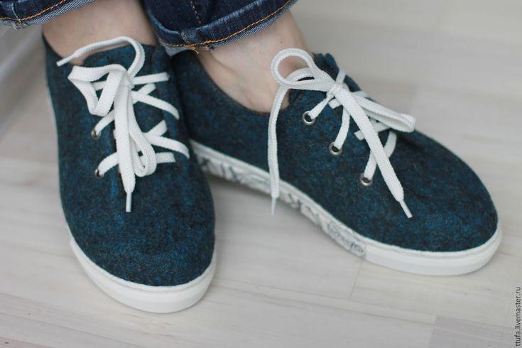 """Купить Валяные кеды """"Деним"""" - тёмно-синий, джинсовый стиль, джинсовый цвет, валяные кеды"""