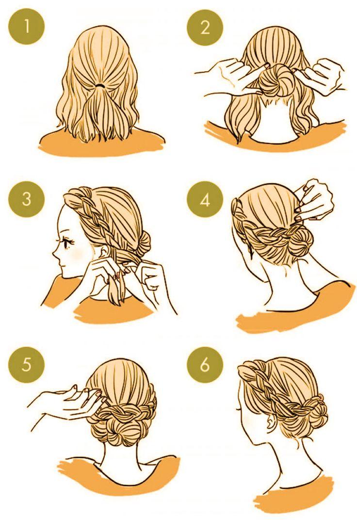 каким картинки как делать прически на себе волосами неделю