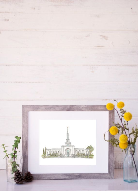 Sacramento California LDS Temple Drawing and Watercolor