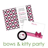Bows & Kitty Party Collection : WH Hostess, Stationery Custom Designs Party Planning Holidays Birth Announcement Collections