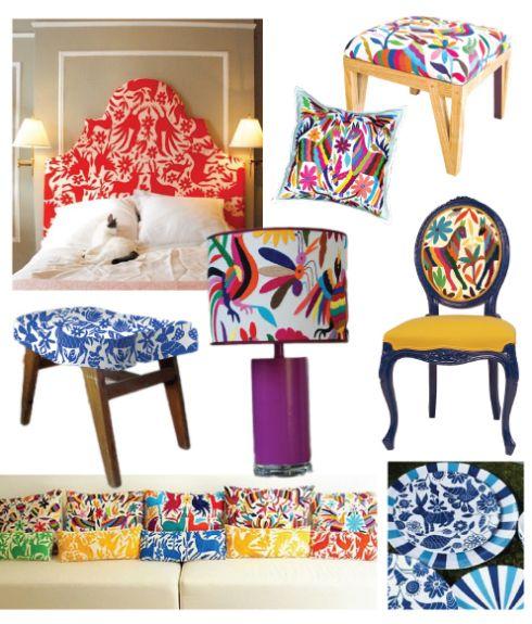Claro está que los colores representan a Mexico y sobre todo los llamativos y aquí podemos apreciar muebles de distintos estilos y no precisamente mexicanos pero con un toque de color y las formas los hacen contemporáneos ademas de que se usa cristal, tela, madera, etc.